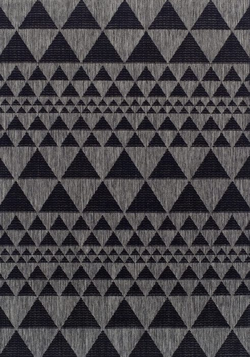 Moda Flatweave Rug by Oriental Weavers in Prism Black Design is durable and lasting; features an anti-slip backing