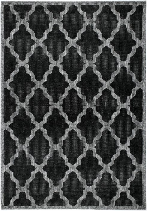Moda Flatweave Rug by Oriental Weavers in Trellis Black Design is durable and lasting; features an anti-slip backing