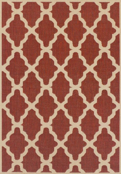 Moda Flatweave Rug by Oriental Weavers in Trellis Red Design is durable and lasting; features an anti-slip backing