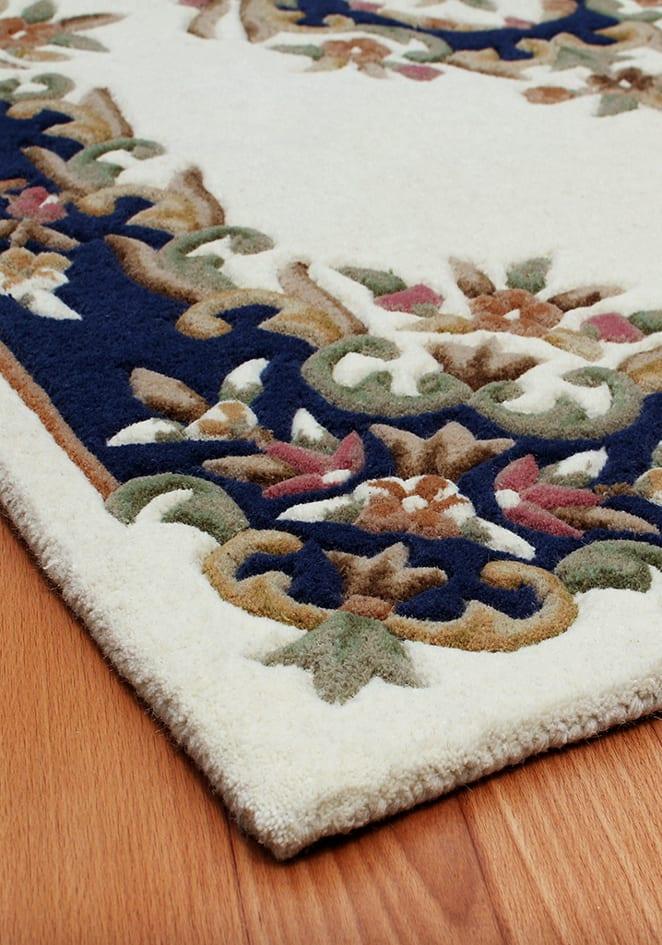 Royal Cream Blue Rug Detail