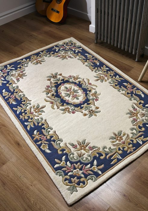 Royal Cream Blue Rug Roomshot copy
