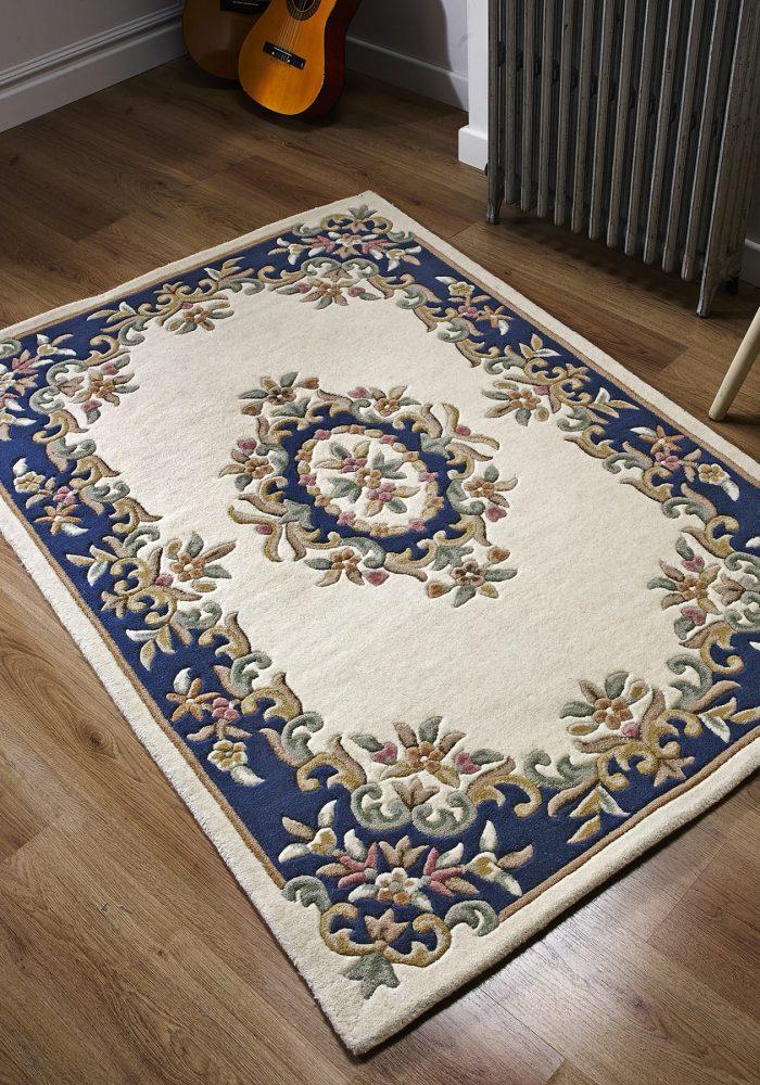 Royal Cream Blue Rug Roomshot copy