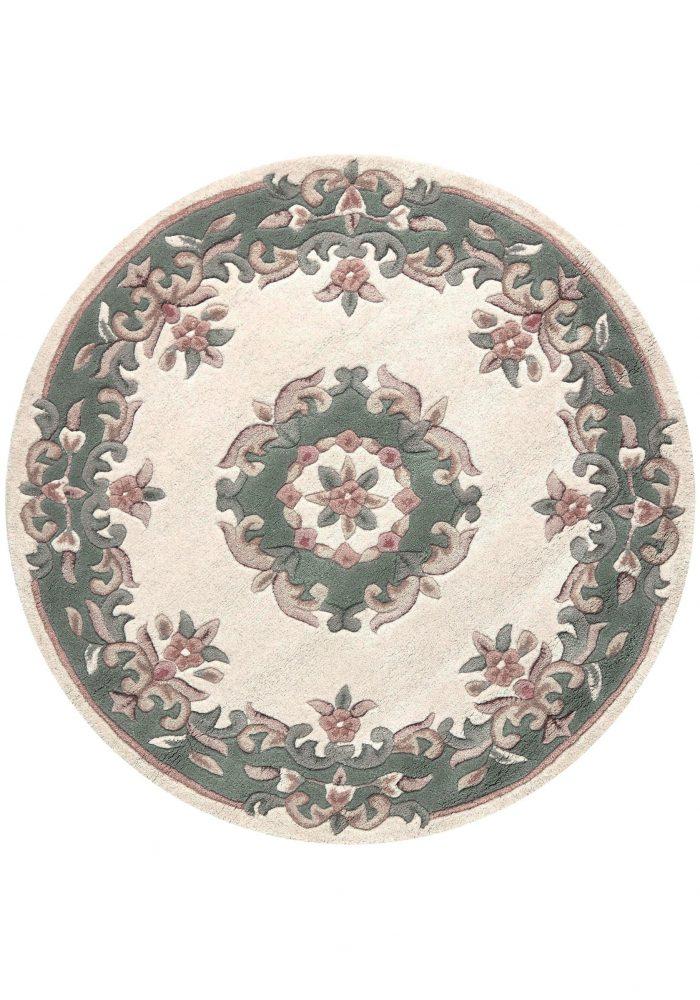 Royal Cream Green Rug Circle