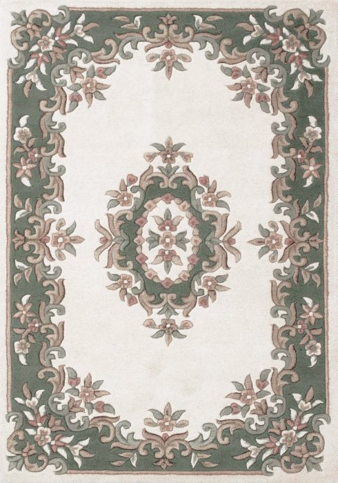 Royal Cream Green Rug Overhead