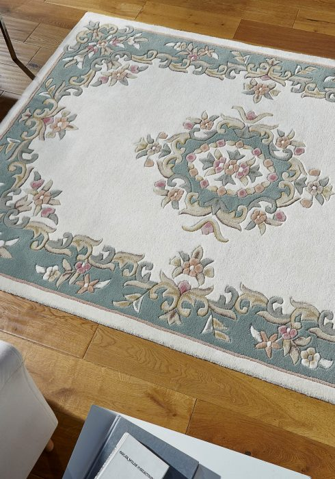 Royal Cream Green Rug Roomshot