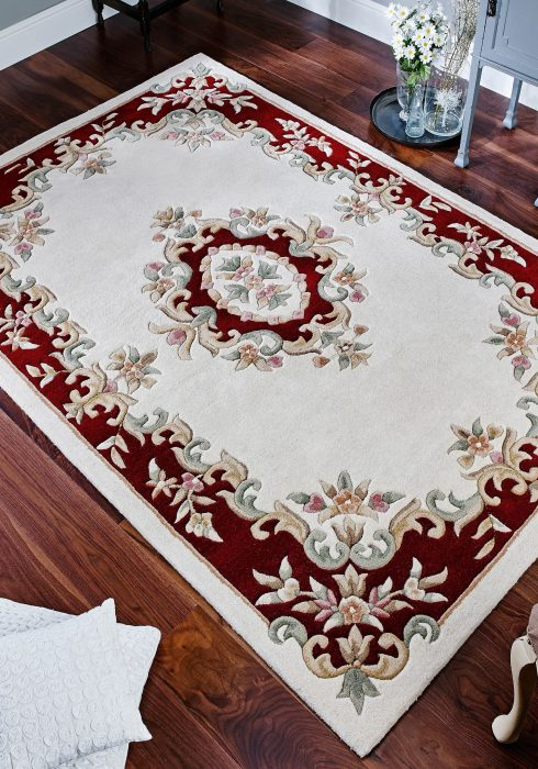 Royal Cream Red Rug Roomshot
