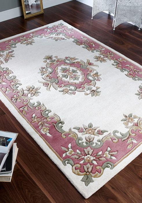 Royal Cream Rose Rug Roomshot