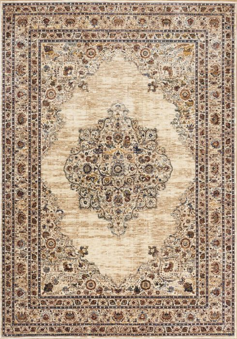 Alhambra Rug by Mastercraft Rugs in 6345C Ivory/Beige Design; a silk-look, antique rug with a low pile and a dense weave