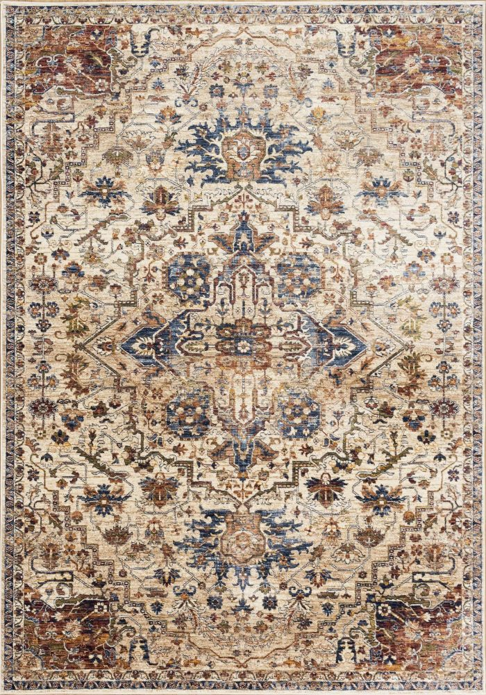 Alhambra Rug by Mastercraft Rugs in 6504C Ivory/Beige Design; a silk-look, antique rug with a low pile and a dense weave