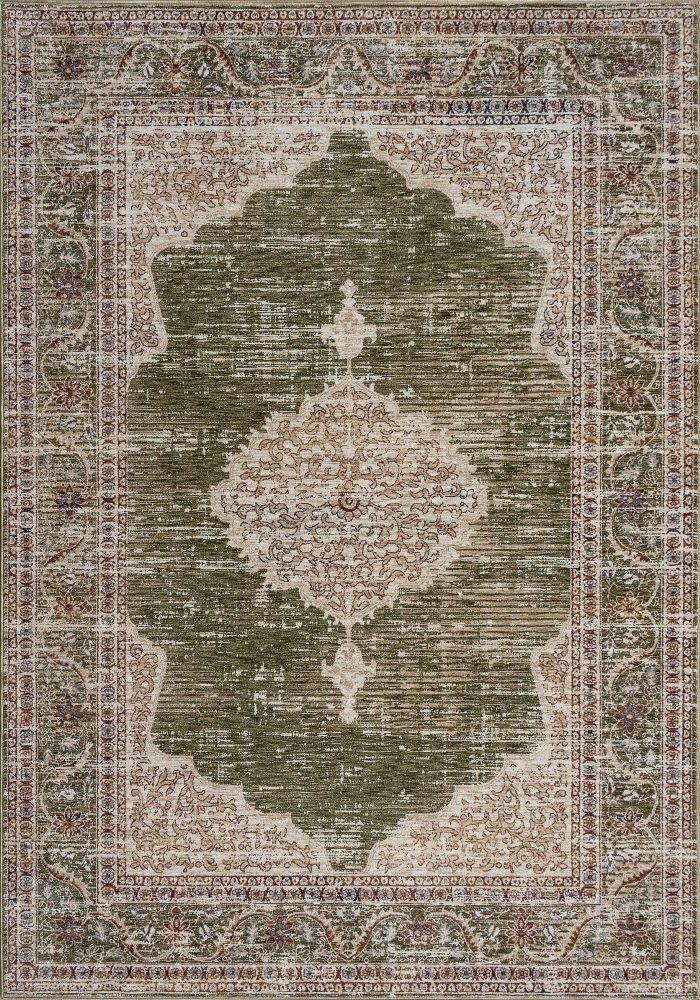 Alhambra Rug by Mastercraft Rugs in 6594B Ivory/Green Design; a silk-look, antique rug with a low pile and a dense weave
