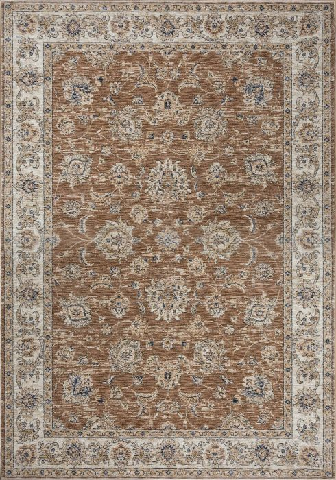 Alhambra Rug by Mastercraft Rugs in 6992A Rose/Beige Design; a silk-look, antique rug with a low pile and a dense weave