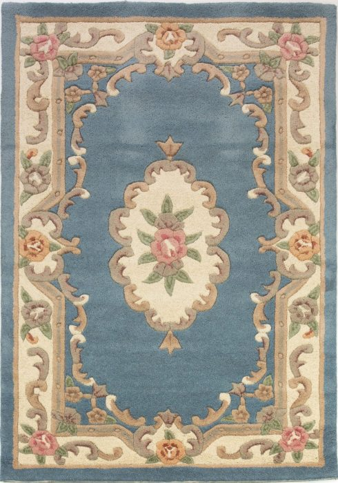 Lotus Premium Aubusson Blue Rug