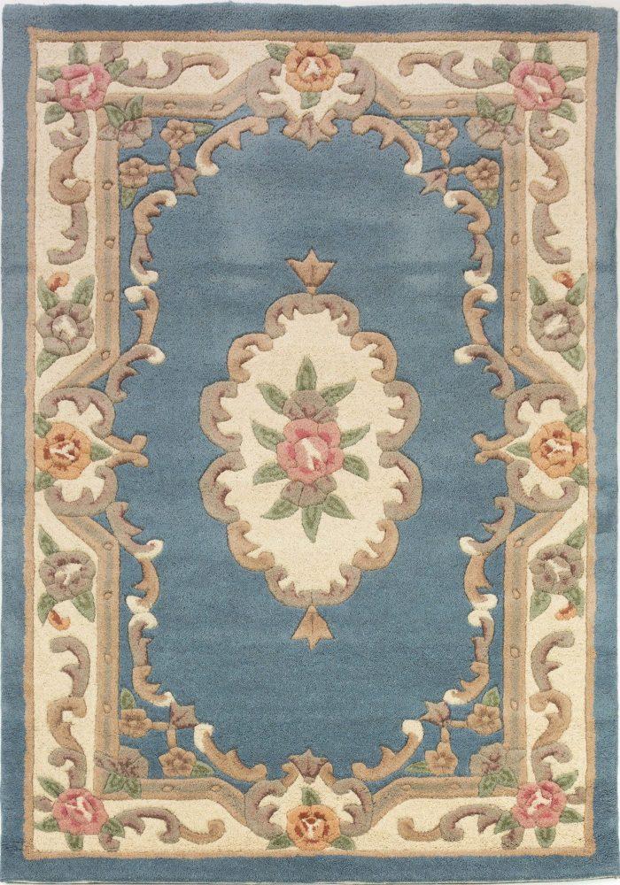Lotus Premium Aubusson Blue Rug