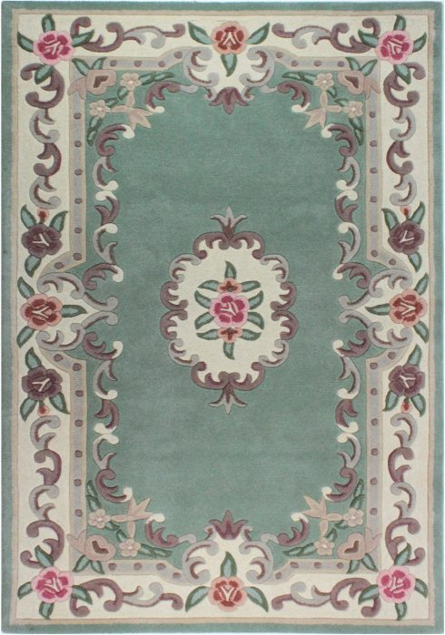Lotus Premium Aubusson Green Rug