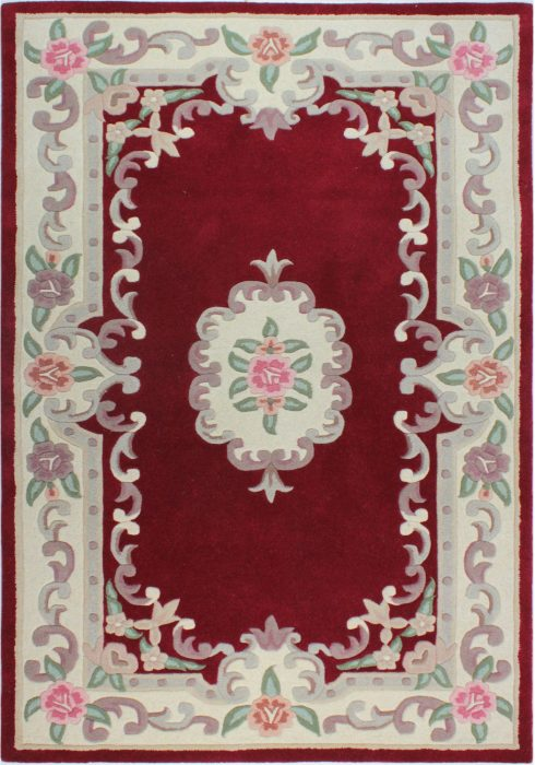 Lotus Premium Aubusson Red Rug