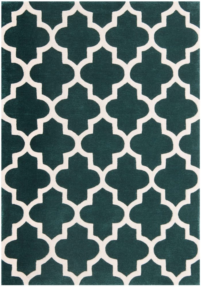 Arabesque Rug by Oriental Weavers in Emerald Colour constructed using blend of wool & viscose & crafted using high & low pile