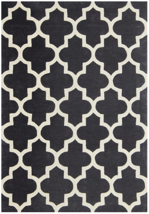 Arabesque Rug by Oriental Weavers in Slate Colour; constructed using blend of wool & viscose & crafted using high & low pile