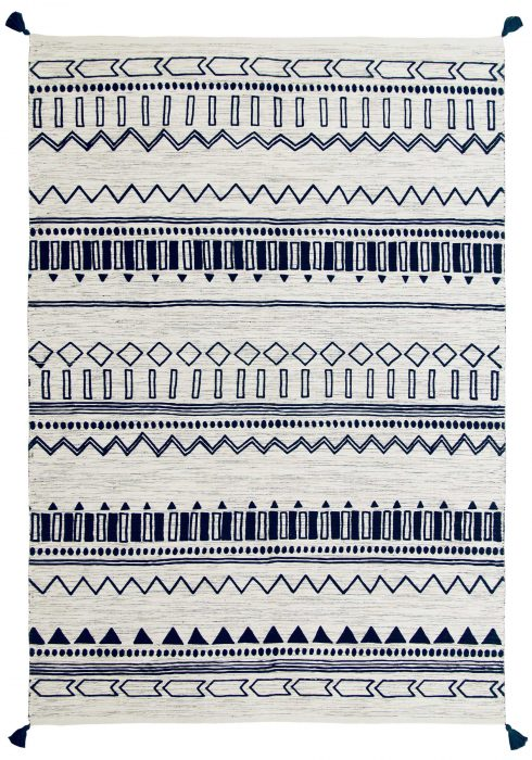 Beni Kelim Rug by Oriental Weavers in Blue Colour has a handwoven printed Kelim and made up of 100% Cotton
