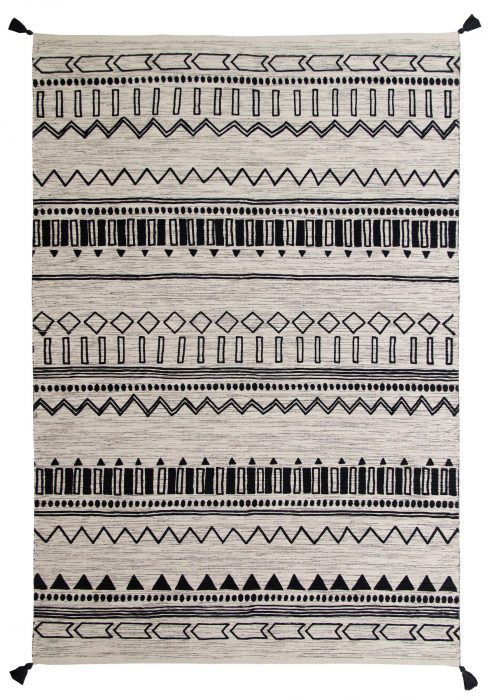 Beni Kelim Rug by Oriental Weavers in Charcoal Colour has a handwoven printed Kelim and made up of 100% Cotton