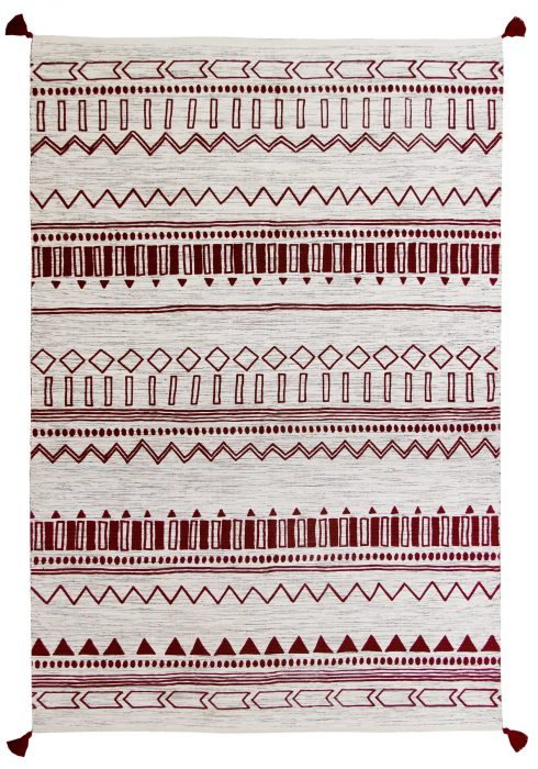 Beni Kelim Rug by Oriental Weavers in Gold Red Colour has a handwoven printed Kelim and made up of 100% Cotton