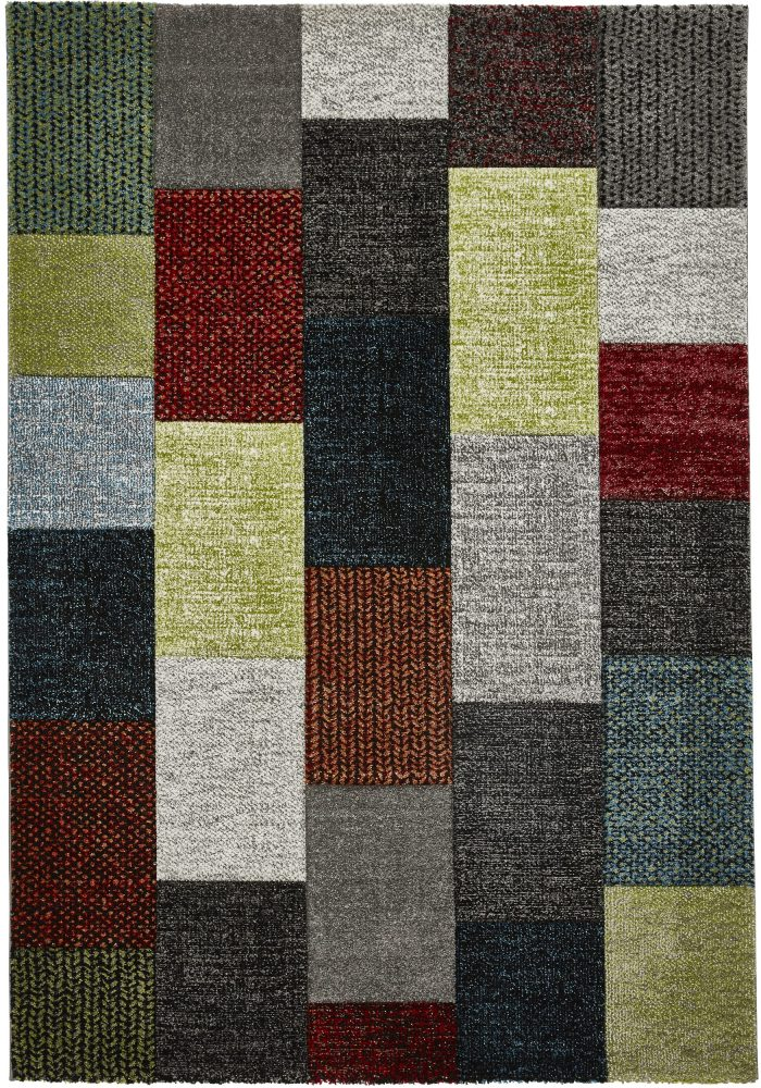 Brooklyn Rug by Think Rugs in Grey/Multi-Colour and 21830 Design; made with 100% polypropylene and hand-carved