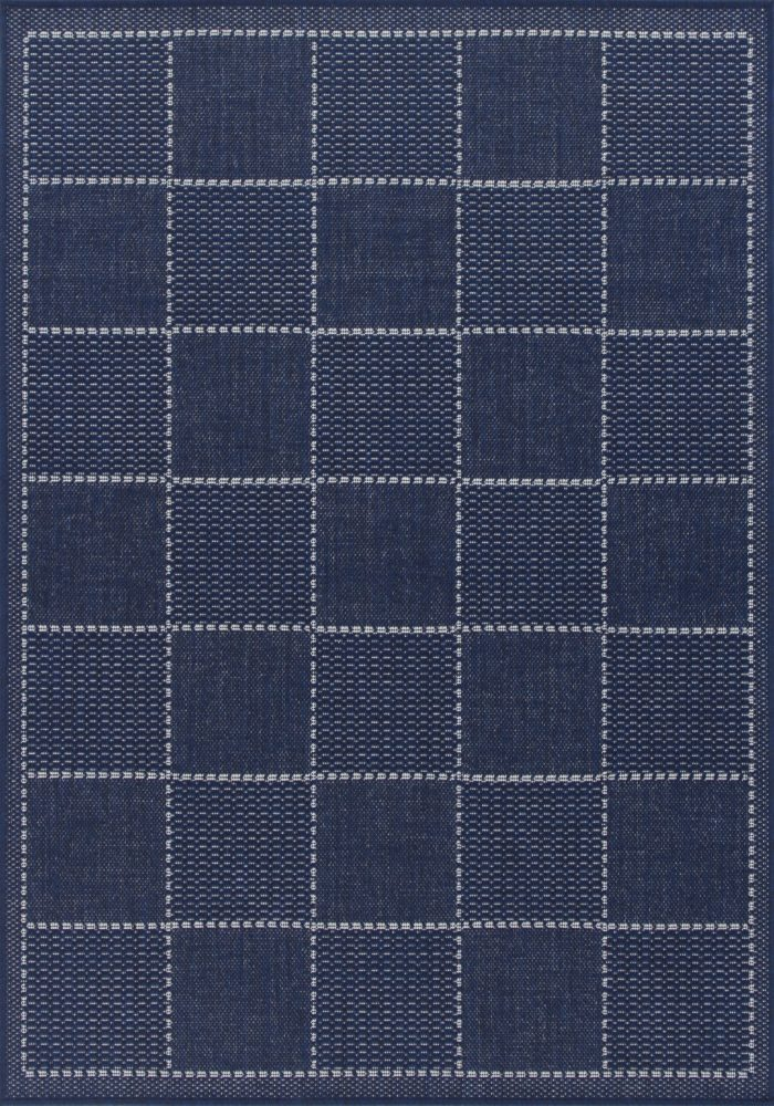 Checked Flatweave Rug by Oriental Weavers in Blue Colour; inspired by traditional sisal rug & has an anti-slip gel backing