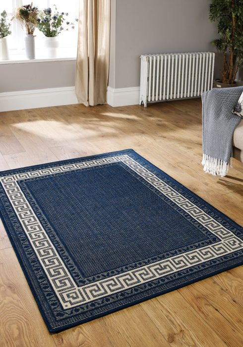 Greek key Flat Weave Blue Rug