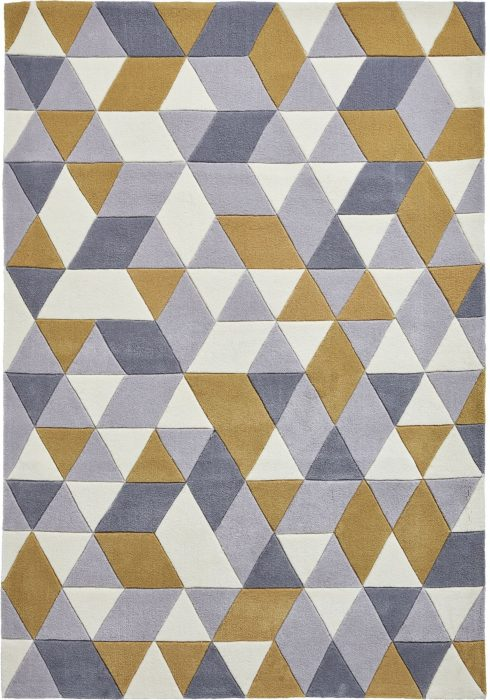 Hong Kong Rug by Think Rugs in Grey/Yellow Colour and 3653 Design; trendy geometric design and hand-tufted with 100% acrylic