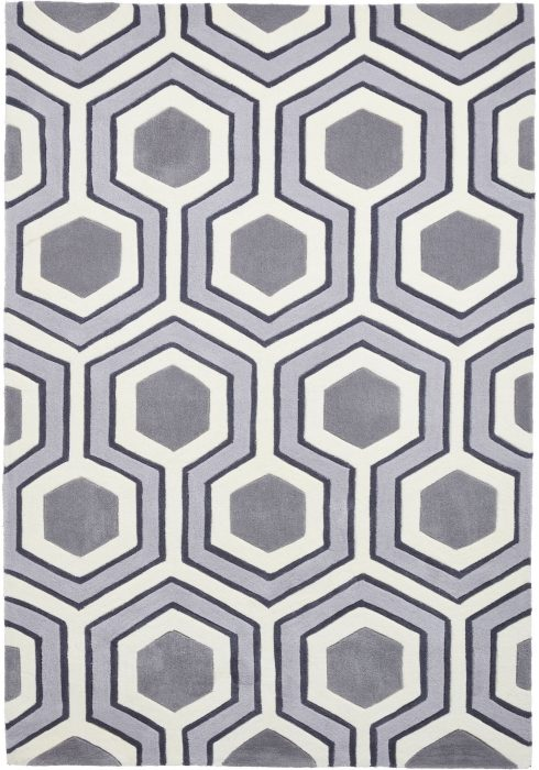 Hong Kong Rug by Think Rugs in Grey Colour and 3661 Design; contemporary design founded on retro inspiration