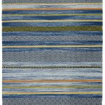 Kelim Rug by Oriental Weavers in Stripe Blue Colour; made in warm natural tones and is great for casual and formal rooms