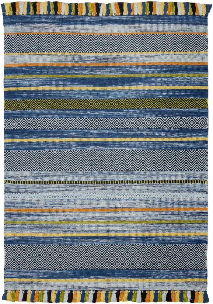 Kelim Stripe Blue Rug Overhead