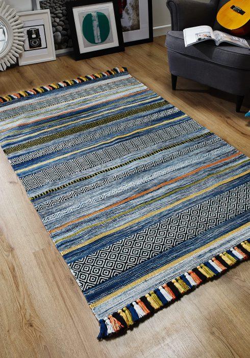 Kelim Stripe Blue Rug Roomshot