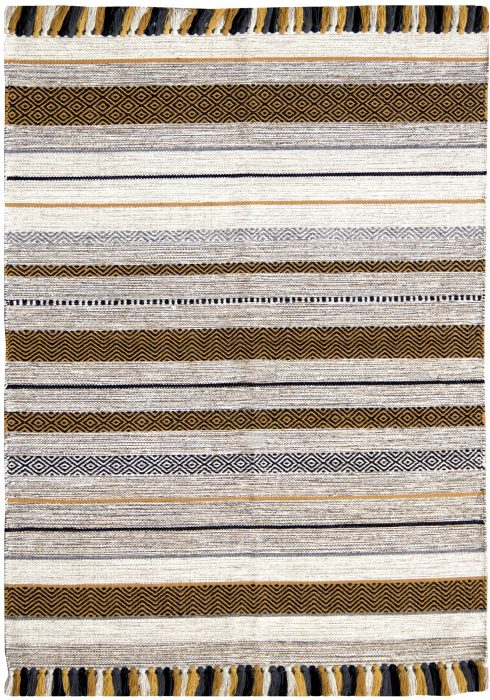 Kelim Rug by Oriental Weavers in Stripe Ochre Colour; made in warm natural tones and is great for casual and formal rooms