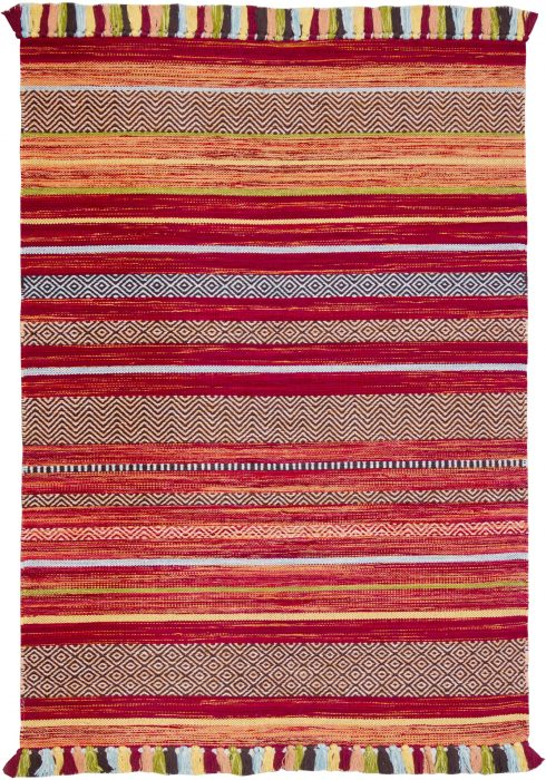 Kelim Stripe Red Rug Overhead