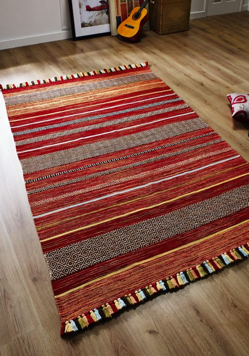Kelim Stripe Red Rug Roomshot