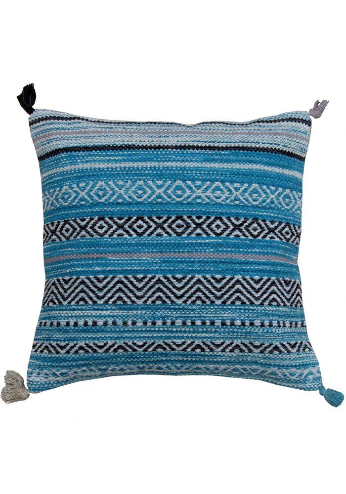 Kelim Stripe Teal Cushion