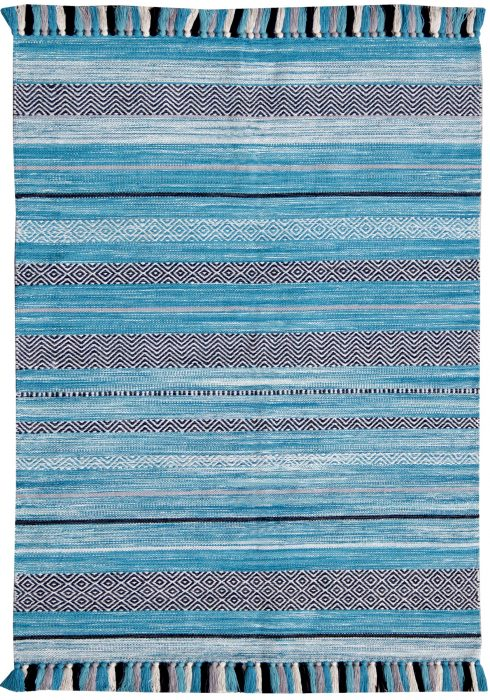 Kelim Rug by Oriental Weavers in Stripe Teal Colour; made in warm natural tones and is great for casual and formal rooms