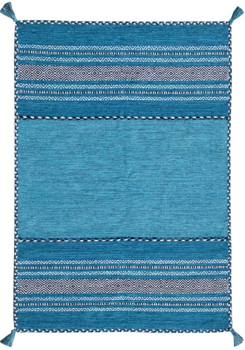 Kelim Rug by Oriental Weavers in Teal Colour; made in warm natural tones and is great for casual and formal rooms