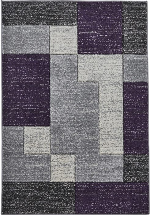 Matrix Rug by Think Rugs in Grey/Lilac Colour and A0221 Design, hand-carved and made in 100% heatset polypropylene
