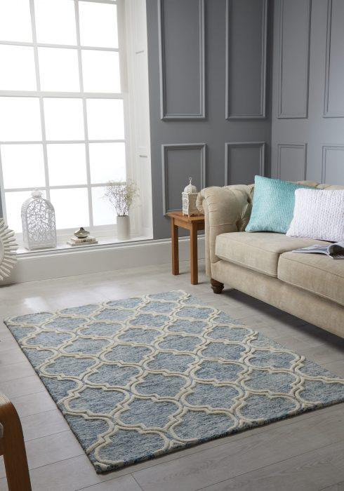 Medina Blue Rug Roomshot