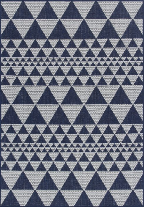 Moda Flatweave Rug by Oriental Weavers in Prism Blue Design is durable and lasting; features an anti-slip backing