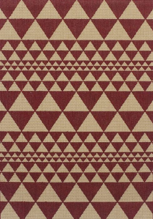 Moda Flatweave Rug by Oriental Weavers in Prism Red Design is durable and lasting; features an anti-slip backing