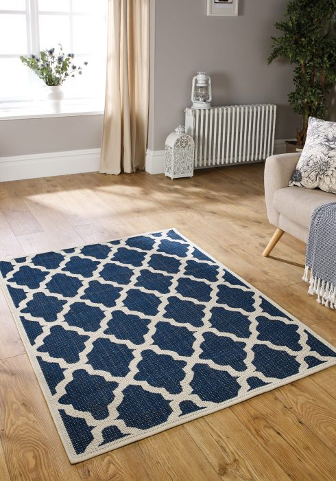 Moda Trellis Blue Rug Roomshot