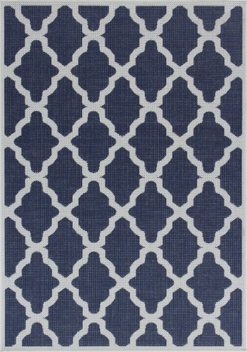 Moda Flatweave Rug by Oriental Weavers in Trellis Blue Design is durable and lasting; features an anti-slip backing
