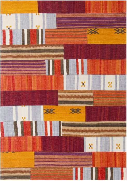 Navajo Rug by Oriental Weavers in Multi Colour use Argentinian wool and cotton to create each patch and stripe