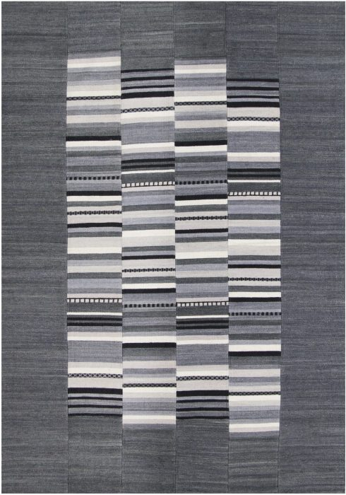 Navajo Rug by Oriental Weavers in Stripe Grey Colour use Argentinian wool and cotton to create each patch and stripe