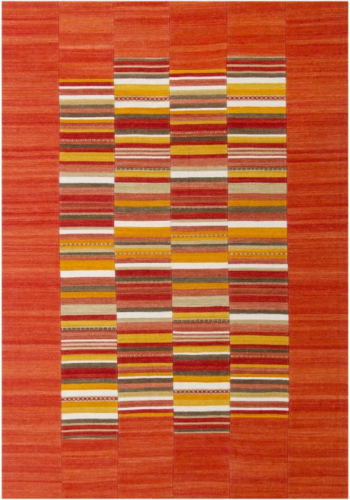 Navajo Rug by Oriental Weavers in Stripe Red Colour use Argentinian wool and cotton to create each patch and stripe