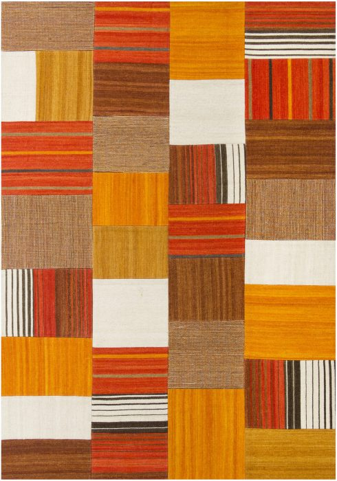 Navajo Rug by Oriental Weavers in Terra Colour use Argentinian wool and cotton to create each patch and stripe