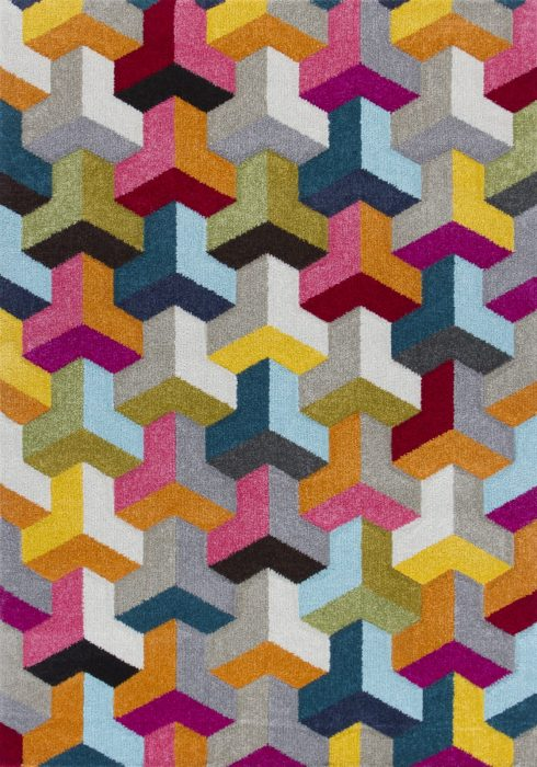 Piccadilly Rug by Oriental Weavers in 531X Design features geometric patterns in bright fashionable colours