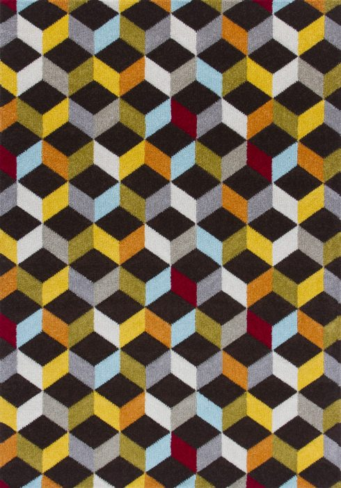 Piccadilly Rug by Oriental Weavers in 563B Design features geometric patterns in bright fashionable colours